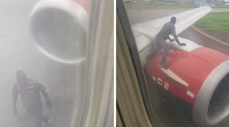 Nigerian Man Climbs Onto A Plane's Wing To Fry Eggs Just As The Flight's About To Take Off From Airport (See VIDEO)