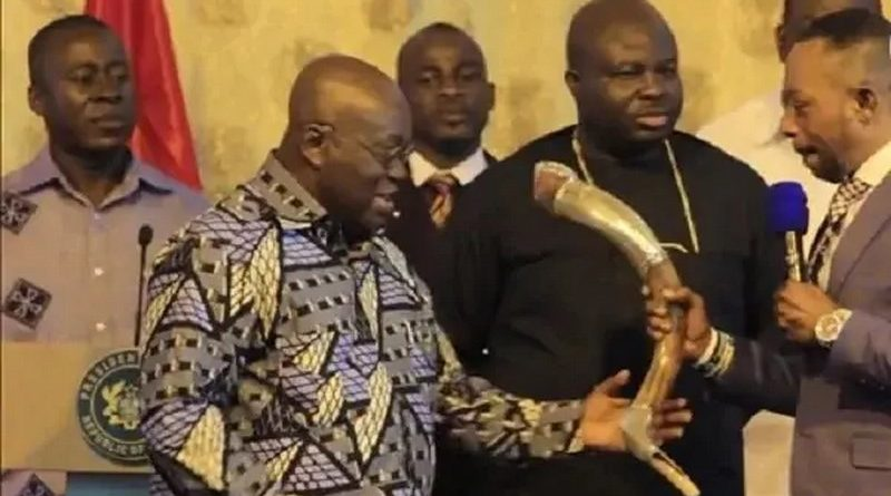 Owusu Bempah Gifts Akufo-Addo The Horn Of A Strange Animal (Photos)
